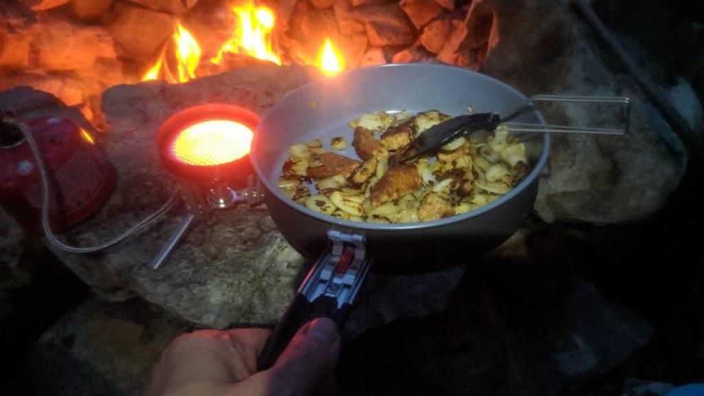Cooking with the MSR Windburner Ceramic Skillet