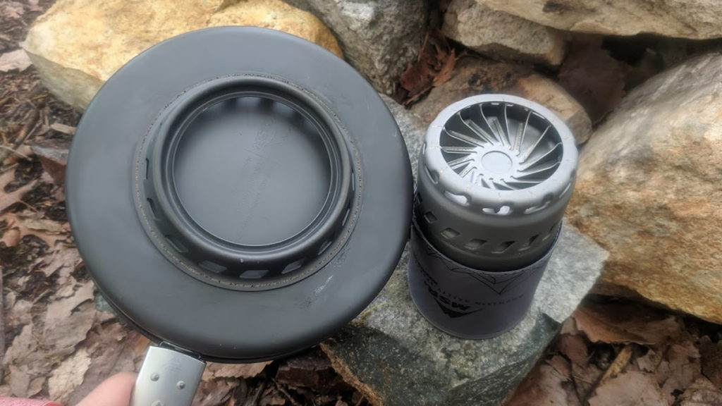 The underside of the MSR Windburner Ceramic Skillet