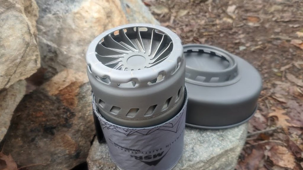 The fins built into the bottom of the MSR Windburner pot help transfer heat.
