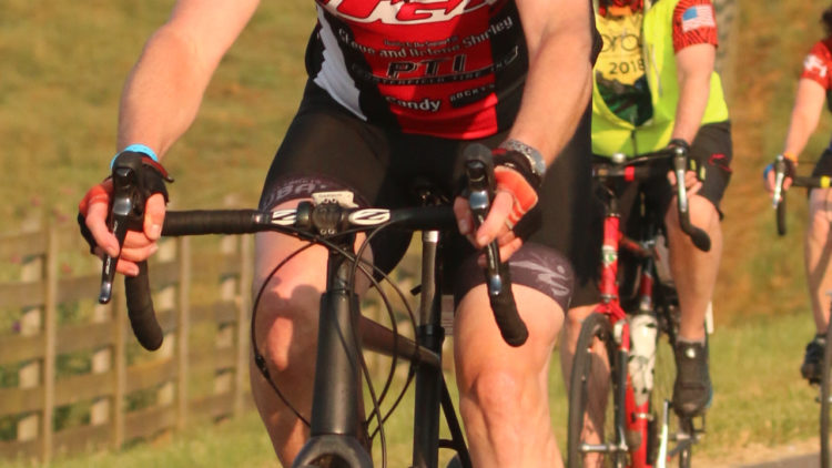 Ian Slack wearing MUCUBAL bib cycling shorts