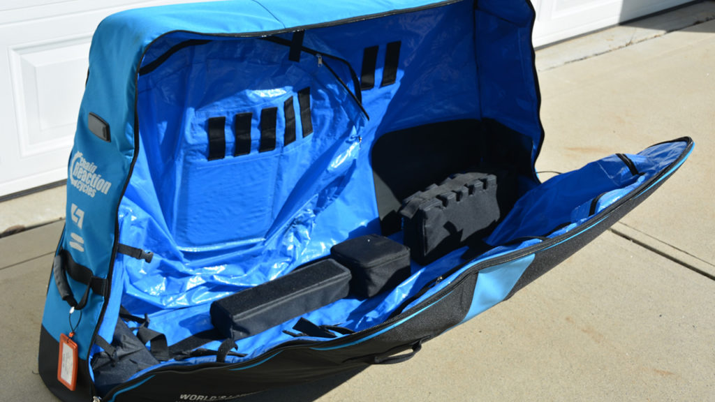 The Chain Reaction Cycles Pro Bike Bag open