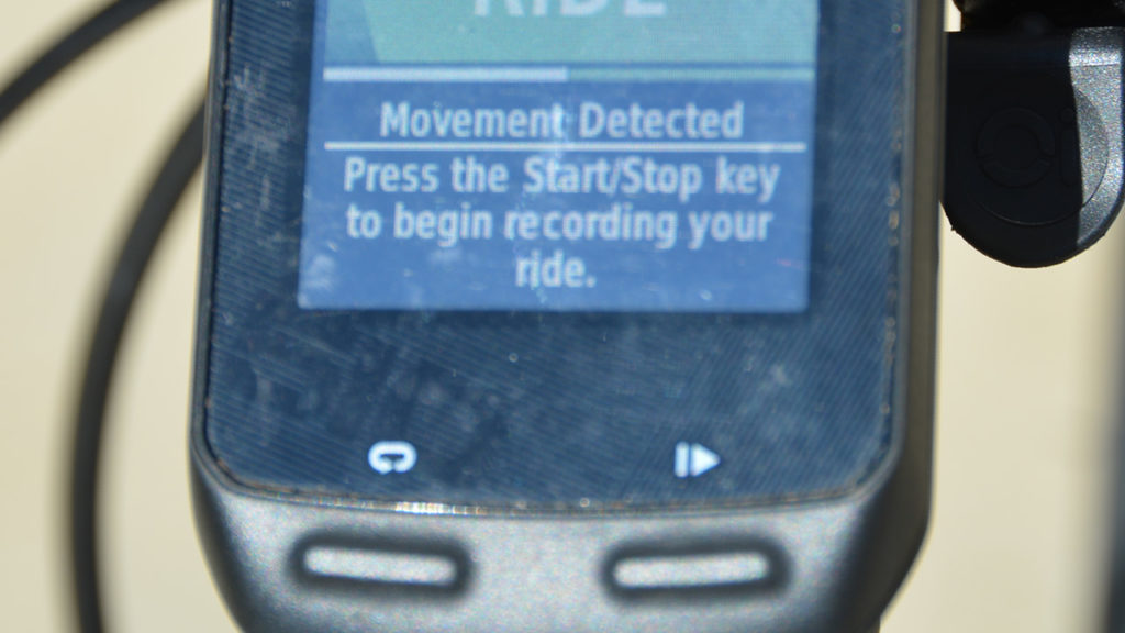 Garmin Edge movement detected alert