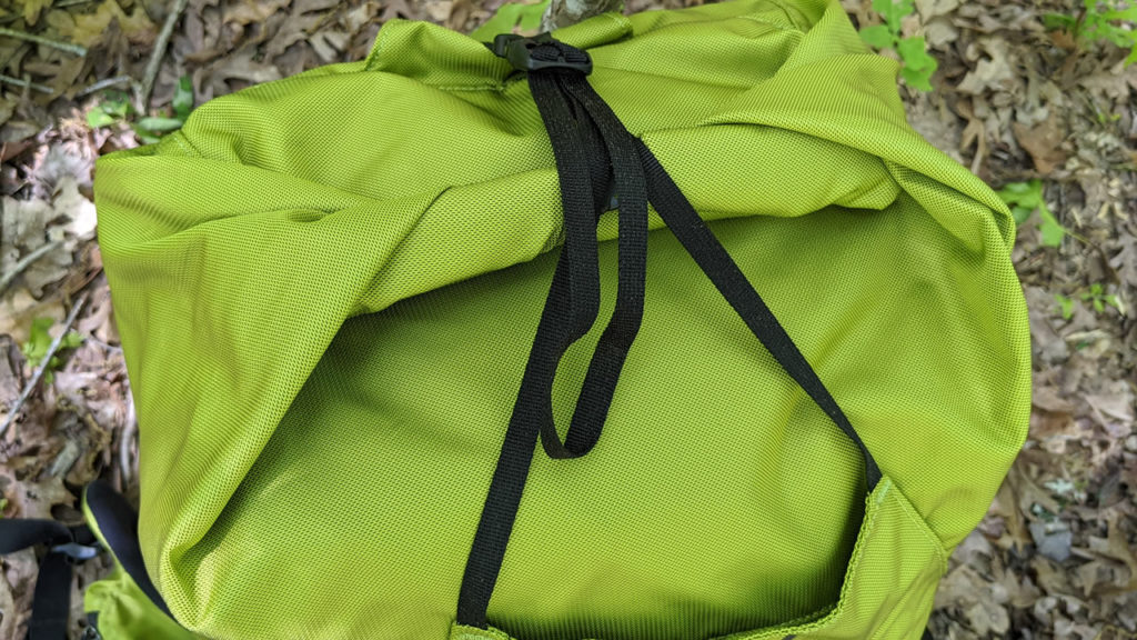 The roll top of the Granite Gear Crown2 backpack