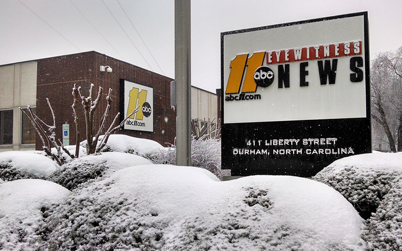 WTVD Durham Studio in the snow