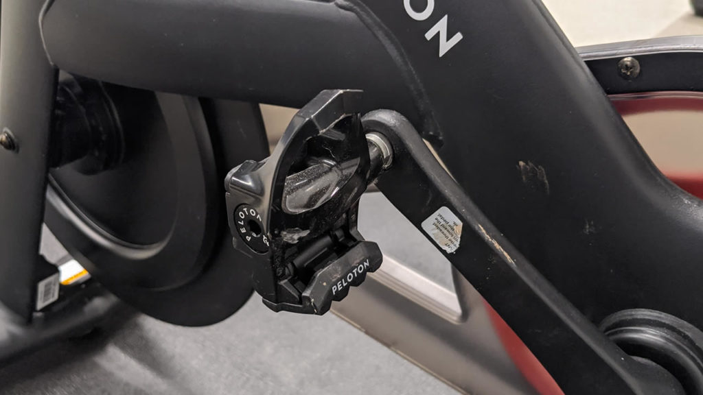 A Look-style pedal on a Peloton bike